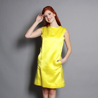 60s Neon Yellow DRESS / Mod Satin Shift Dress, s