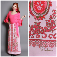 70s Alfred SHAHEEN Blouse & Skirt DRESS SET / Pink Psychedelic Printed Maxi Skirt, m