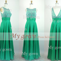 2014 Prom Dress Beading green Chiffon Floor Length Prom Dress,Evening Dress,Formal Dress,wedding dress,homecoming dress