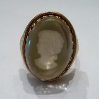 Vintage Cameo Gold Filigree Ring Costume Jewelry Bride Wedding Party