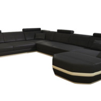 Large Elegant Leather Sectional - Opulentitems.com