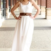 White Tribal Straps Maxi Dress