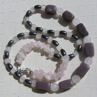 "Crystal Gemstone Necklace Plum Jade, Rose Quartz, & Hematite - ""Raspberry Ripple"" - Special Offer Price"