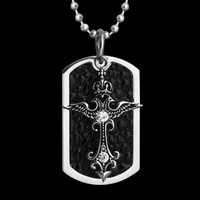 CREMATION JEWELRY NECKLACE CROSS Silver Crucifix Memorial Pendant Funeral A04