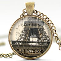 Paris Necklace, Vintage Style Paris Jewelry, Eiffel Tower Pendant, Paris Charm (474)