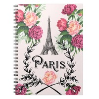 Paris Vintage Pink Roses Spiral Notebook