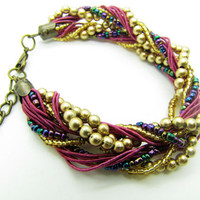 purple beads women jewelry bangle bracelet beads by braceletcool