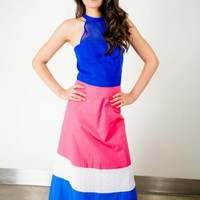 Blue Pink and White Halter Maxi Dress