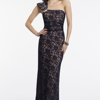 One Shoulder Glitter Lace Dress