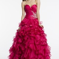 Strapless Corset Dress with Ruched Organza Bodice