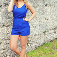 Vintage Beauty Romper: Royal Blue