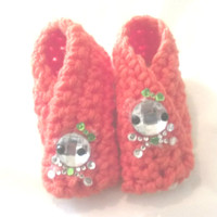Baby Slippers, Orange Newborn Wrap up booties with Skull decal,Colorful soles ready to shop Crocheted with love by GSS~Beauty