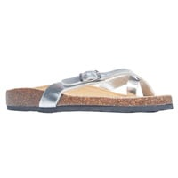 Metallic Strap Slip-On Flat Sandals | Wet Seal