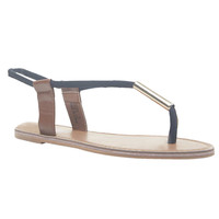 Metal Detail Canvas T-Strap Sandals | Wet Seal