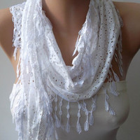 Perforated White Cotton Scarf with White Trim Edge by SwedishShop