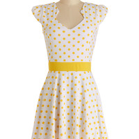 ModCloth Mid-length Cap Sleeves A-line The Story of Citrus Dress in Lemon