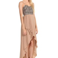 Black & Taupe Sleeveless Maxi Dress w/ Brocade Bodice