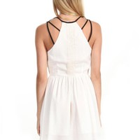 White Sleeveless Asymmetrical Dress w/ Black Straps