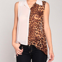 Two Faced Scoopback Top in Leopard Blush