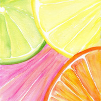 Ruby Red Grapefruit, Lemon, Orange Lime slices Watercolor Painting, Fruit Series, Original Citrus ART