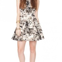 Black, White, & Gold Print A-Line Sleeveless Dress