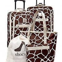 New Directions® 5-Piece Luggage Set - Giraffe Print with Cham