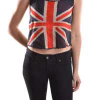 Stand out in the crowd with Charm Union Jack Print Knit Crop Top. This sleeveless crop top features soft cotton knit, round neckline, thick shoulder straps, cropped construction, semi-sheer, asymmetrical hem and finished with stitching detail. Pair with ba
