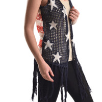 Show off your love for patriotic fashion with this trendy Open Front American Flag Print Knit Vest! This iconic print knit vest features semi-sheer knit with American Flag pattern throughout, and finished with fringe detailing at bottom hem.