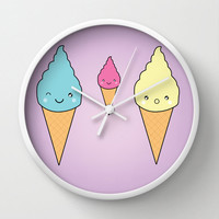Wall Clock Kawaii Ice Cream Faces Kitchen Food Sweets Purple Home Decor Wall Decor Made To Order Clock Custom Clock