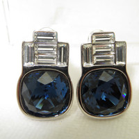 Vintage Signed YSL Yves St. Laurent Earrings Royal Blue Clear Baguette Rhinestone Couture