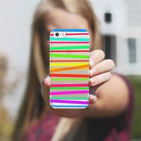 Watercolor Rainbow Stripes - Transparent/Clear style iPhone 5s case by Lisa Argyropoulos | Casetagram