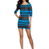 Robert Rodriguez Women's Sheer Striped Shift Dress