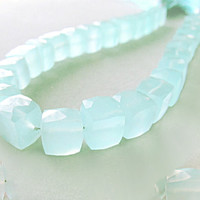 Light Peruvian Blue Chalcedony Cubes Center Drill Peru chalcedony beads