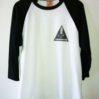 Black & White Baseball T-Shirt w/ Nautical Graphic Print