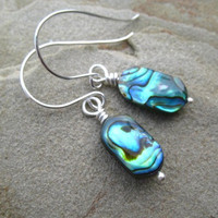 Abalone Earrings Paua Shell  Sterling Silver by ZorroPlateado