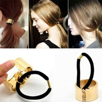 Housweety Gold Plated Alloy Circle Ring Elastic Hair Band Cuff Wrap Ponytail Holder, 1 Pc