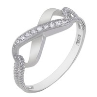 Authentic Diamond Color Cubic Zirconia .925 Sterling Silver Infinity Symbol Ring Special Limited Time Offer Super Sale Price, Comes with a Free Gift Pouch and Gift Box
