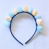 "Handmade ""Flower Fairy"" Blue and Cream Rosebud Flower Crown Headband Easter Spring Hair Accesories"