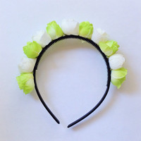 "Handmade ""Flower Fairy"" White and Green Rosebud Flower Crown Easter Spring Hair Accesories"