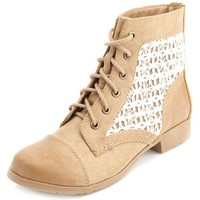 CROCHET INSET LACE-UP COMBAT BOOTIES