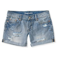 Light Wash Destroyed Denim Boyfriend Shorts