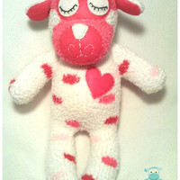 Plush Lamb, White and Pink Polka Dot Sock Lamb, Stuffed Animal, Sock Animal, Baby Shower, Nursery Gift, Easter Gift