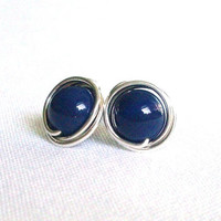 Set of Navy Blue Stud Earrings, Pearl Sterling Silver Post Earrings, Handmade Wire Wrapped Jewelry, Navy Blue Wedding