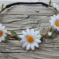 Daisy flower crown flower headband Hippie Boho headband with White daisy flower and elastic back for women and girls boho floral headband