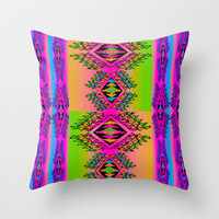 Neon Erkkat Throw Pillow by Nina May