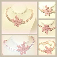 Pink Rose Felt Crystal Choker - Prom, Wedding, Spring, Summer - Pfaltzgraff Tea Rose