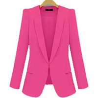 Womens Slim Fit Waisted Long Sleeve Jacket Office Lady OL Cotton Blazer Coat