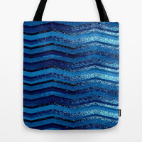 sparkly and dark blue adventure Tote Bag by Marianna Tankelevich
