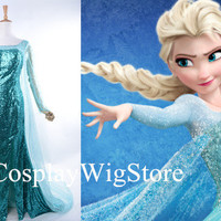 Hot Selling Frozen Costume Snow Queen Elsa Costume Princess Dress Custom Size Blue Dress Cosplay Costume Free Shipping