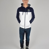 Lacoste Zipped Hooded Sweatshirt SH7694 - White/Navy